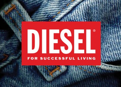 Diesel brand logo superimposed on denim background